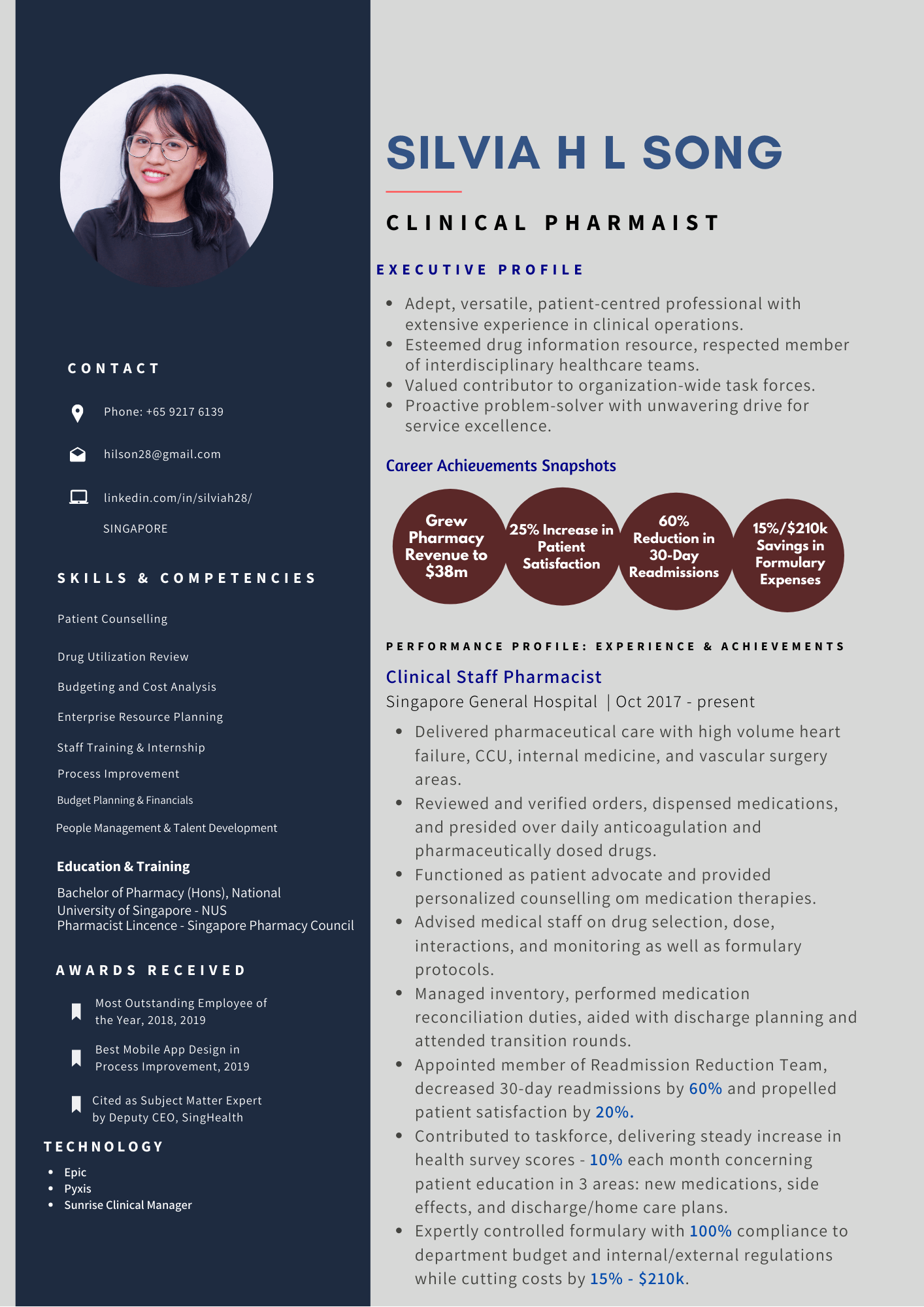 Silvia H L Song Clinical Pharmacist Resume