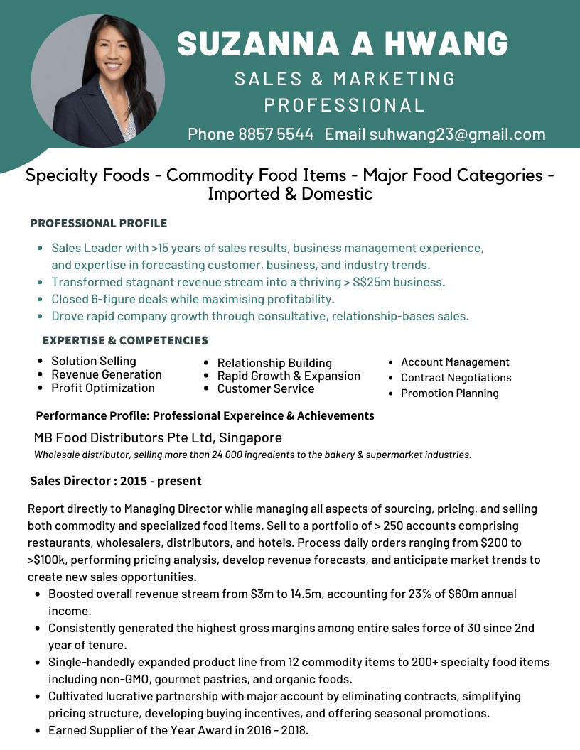 Suzanna Hwang Sales n Marketing Pro resume